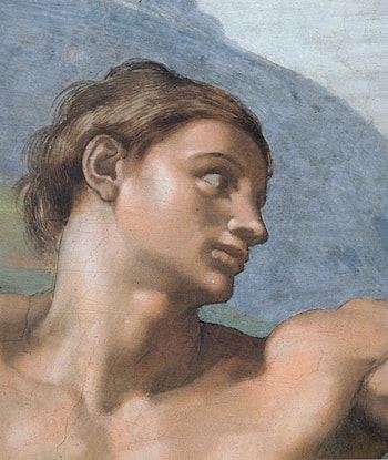 Ceiling of the Sistine Chapel: Genesis, The Creation of Adam [Adam's face] by Michelangelo